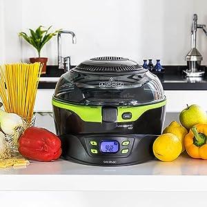 Cecotec Freidora Dietetica sin Aceite Turbo CecoFry 4D. Cocina sin Aceite, 8 Menús Ajustables en Tiempo y Temperatura (100-240ºC), Cocina a 2 niveles, ...
