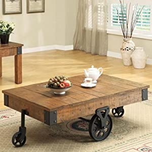 Coaster Furniture Wood Coffee Table With Casters