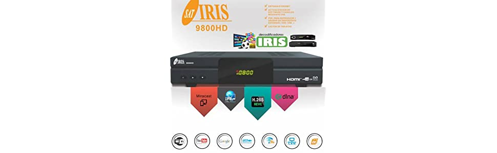 IRIS 9800 HD - Receptor de TV por satélite (Full HD, WiFi) Color Negro