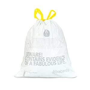 bin liners brabantia; waste bags brabantia; white waste bags; quote bags; bin liners handles; tie