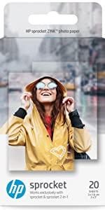 HP Sprocket 2×3 Premium Zink Sticky Back Photo Paper (20 Sheets)