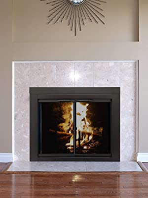 Pleasant Hearth Glass Fireplace Door Arrington Black Medium AR-1021 Mesh Screens