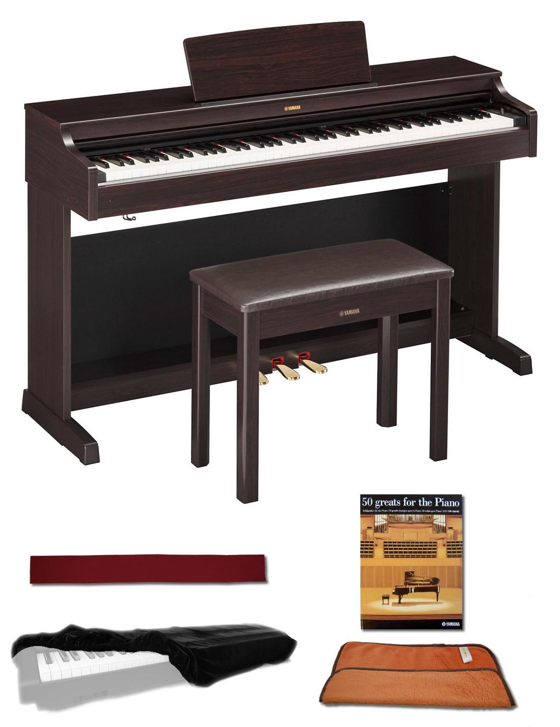 yamaha ydp163r rosewood 88 weighted keys digital piano keyboard bundle with matching. Black Bedroom Furniture Sets. Home Design Ideas