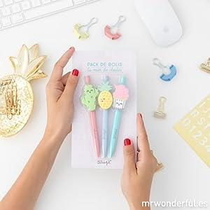 Mr. Wonderful ME2019K - Pack de bolígrafos la mar de chulos: Amazon.es: Oficina y papelería