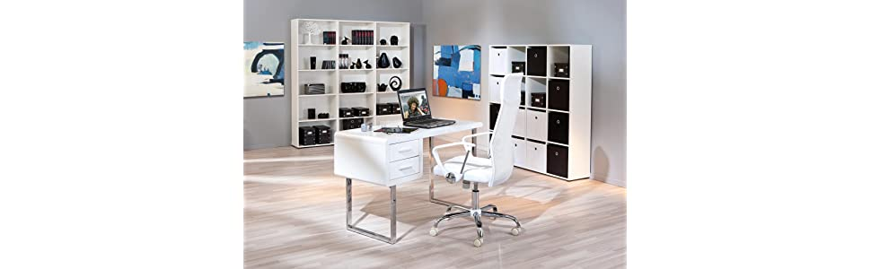 links 50501010 claude bureau 2 tiroirs blanc 120 x 55 x 76 cm cuisine maison. Black Bedroom Furniture Sets. Home Design Ideas