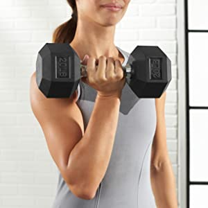 NEW AmazonBasics Rubber Encased Hex Hand 15lb Dumbbell Weight