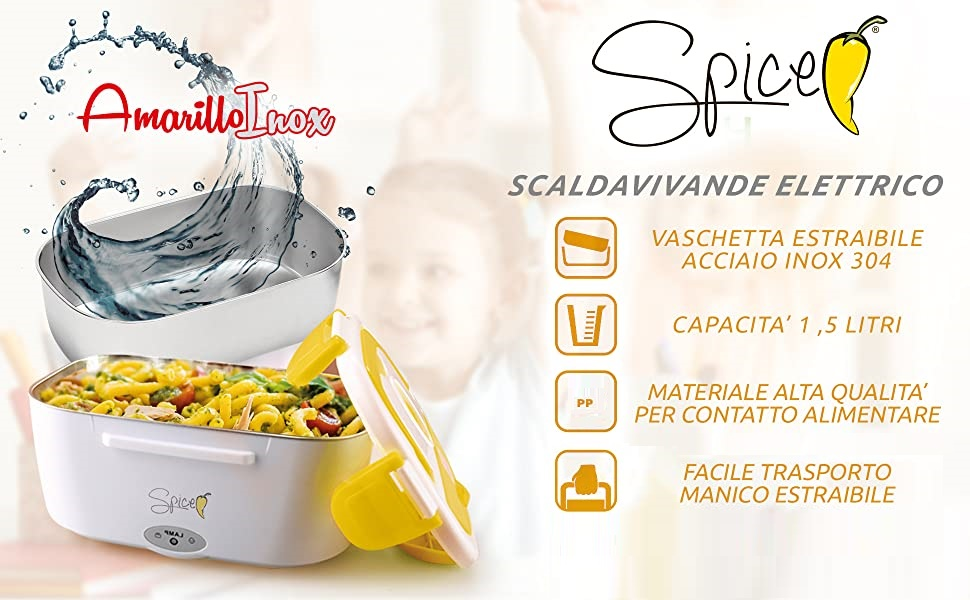 Spice - Set de bolsa térmica con correa + calentador de alimentos amarillo de acero inoxidable, bandeja extraíble de acero inoxidable Borsa Term + 1,5 ...