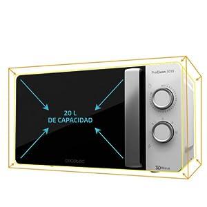 Cecotec Microondas Proclean 3010. Capacidad de 20l, Revestimiento Ready2Clean, 700 W de Potencia, 6 Niveles Funcionamiento, Temporizador 30 min, Modo ...