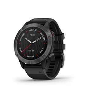 Garmin Fenix 6 Pro, reloj GPS multideporte definitivo, funciones de mapeo, música, monitoreo de ritmo ajustado por grado y sensores de pulso, negro ...