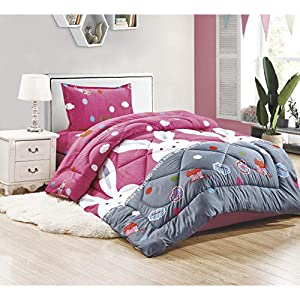 Comforter set 4pcs for kids, Single size, Pink Bunny