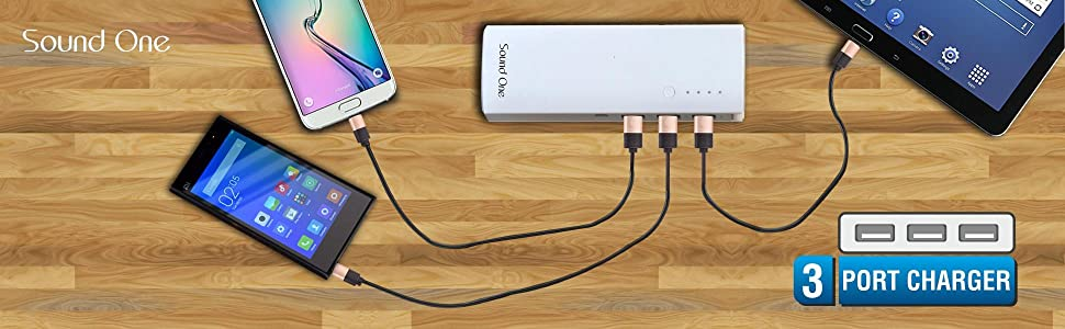 3 USB output and support for three phone charger