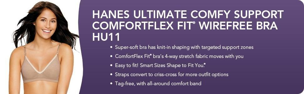 Hanes ultimate comfy support comfortflex fit women s for Hanes wireless soft t shirt bra hu03