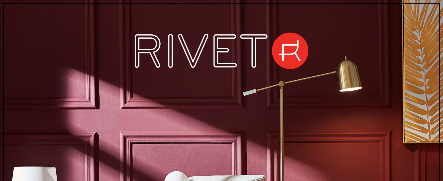 Rivet, home furnishings, small space, apartment, lighting, mid-century, industrial, USB, charging