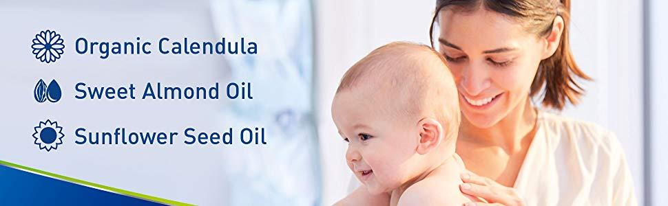 Cetaphil Baby Daily Lotion contains organic calendula, sweet almond oil, sunflower seed oil