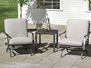 Ravenna Home Archer outdoor collection rocking armchair with cushion and gas fire pit table