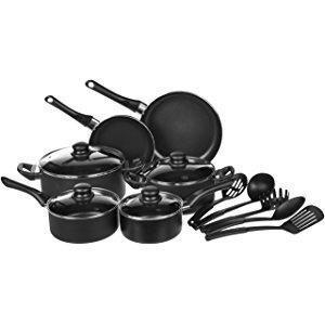 AmazonBasics - Juego de utensilios de cocina antiadherentes, 15 ...
