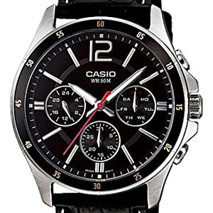 Casio Men's Dial Leather Band Watch