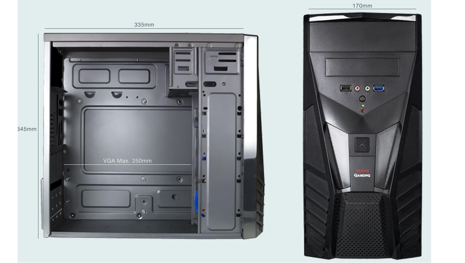 Mars Gaming MC0 - Caja de ordenador para gaming (micro ATX, 4 slots expansión, VGA hasta 250 mm, capacidad 2 ventiladores, USB 2.0/3.0, audio/mic), negro: Mars-Gaming: Amazon.es: Electrónica