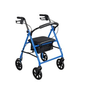 Drive Medical Steel Walker Rollator with 8 Inch Wheels, Blue