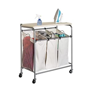 Honey Can Do Rolling Laundry Sorter With Ironing Board Home Kitchen