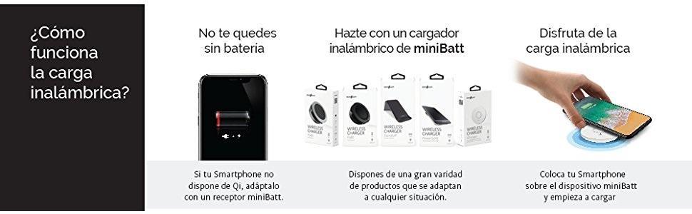 Minibatt MB-PHBOX, Cargador Inalámbrico para Coche con QI, Negro