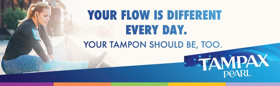 Woman stretching: your flow is different every day. Your tampon should be, too.