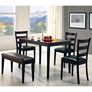 Coaster 5pc Dining Table Chairs And Bench Set Cappuccino Finish