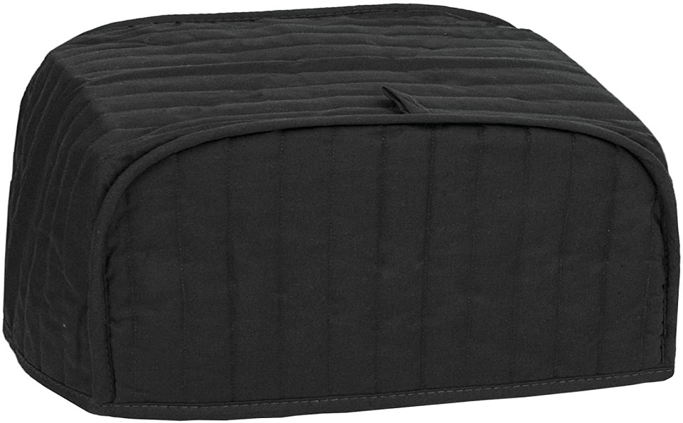 RITZ Polyester // Cotton Quilted Two Slice Toaster Appliance Cover Machine Washable Dust and Fingerprint Protection Black