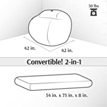 Amazon.com: cordaroy completo del Convertible Bean Bag ...