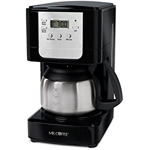 Mr. Coffee JWX9-RB 5-Cup Programmable Coffeemaker, Black with Stainless Steel Carafe