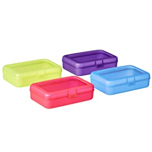 AmazonBasics Pencil Box, Pack of 4