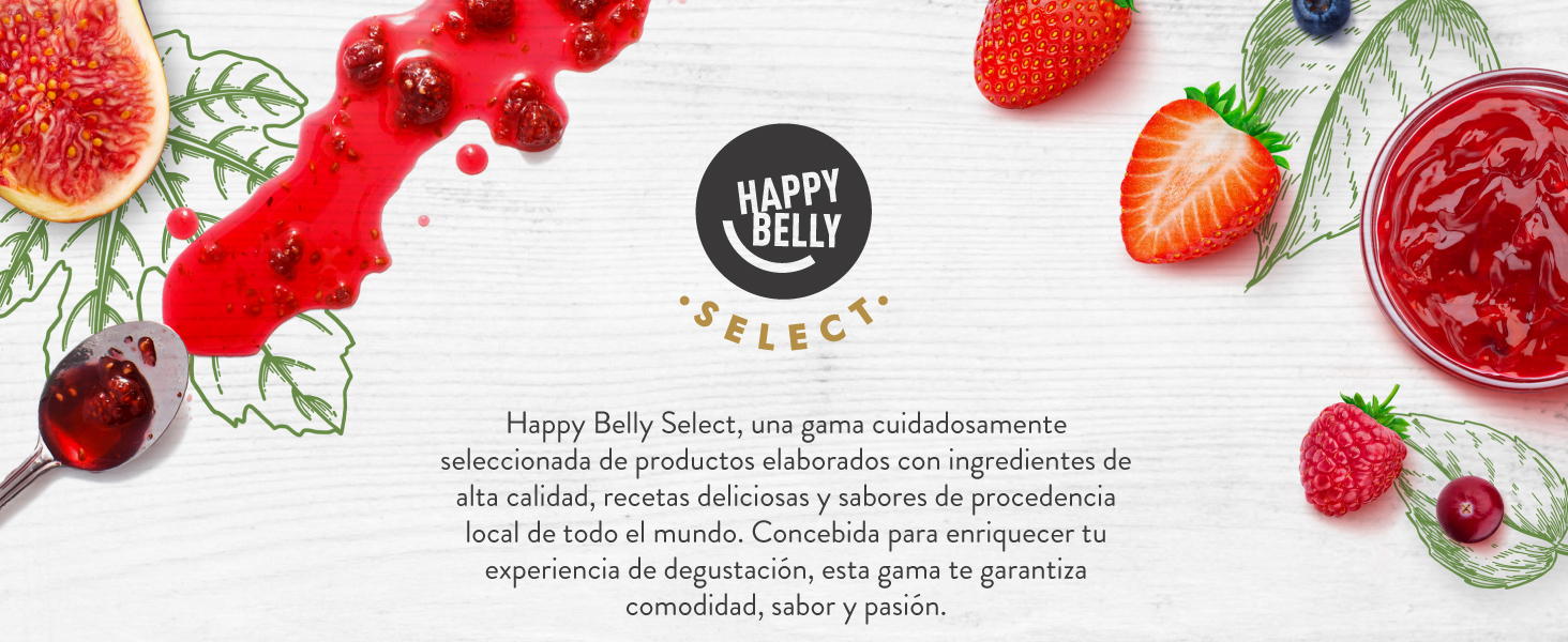 Marca Amazon - Happy Belly Select Mermelada de albaricoque, 100 % de fruta, 2 unidades de 270 g