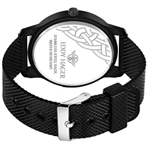 black dial watch, analog watch, silver men's watch