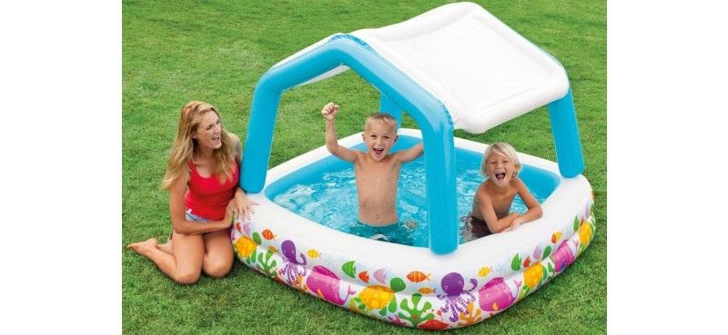 Intex piscina hinchable infantil con toldo extra ble for Piscina intex cuadrada