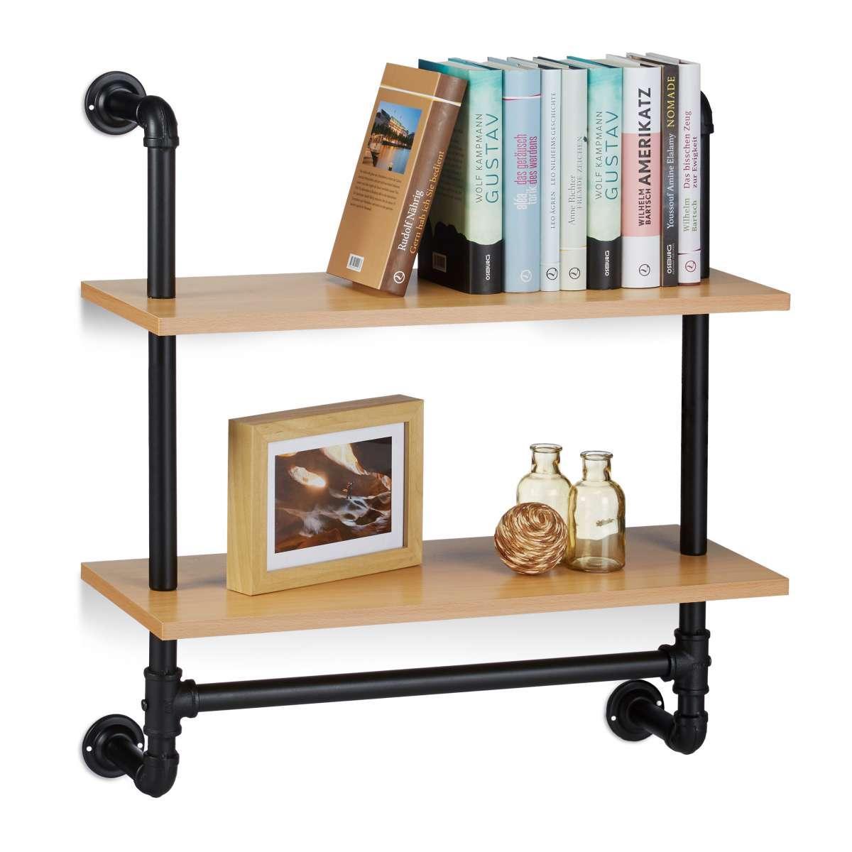 2x Wandregl Industrie mit 2 Ablagen Bücherregal Wandmontage Holz und Eisen Set