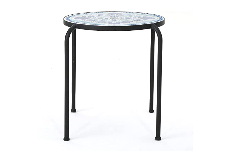 Red-783 Christopher Knight Home 301160 Arwen Outdoor Blue and White Glass Side Table with Iron Frame