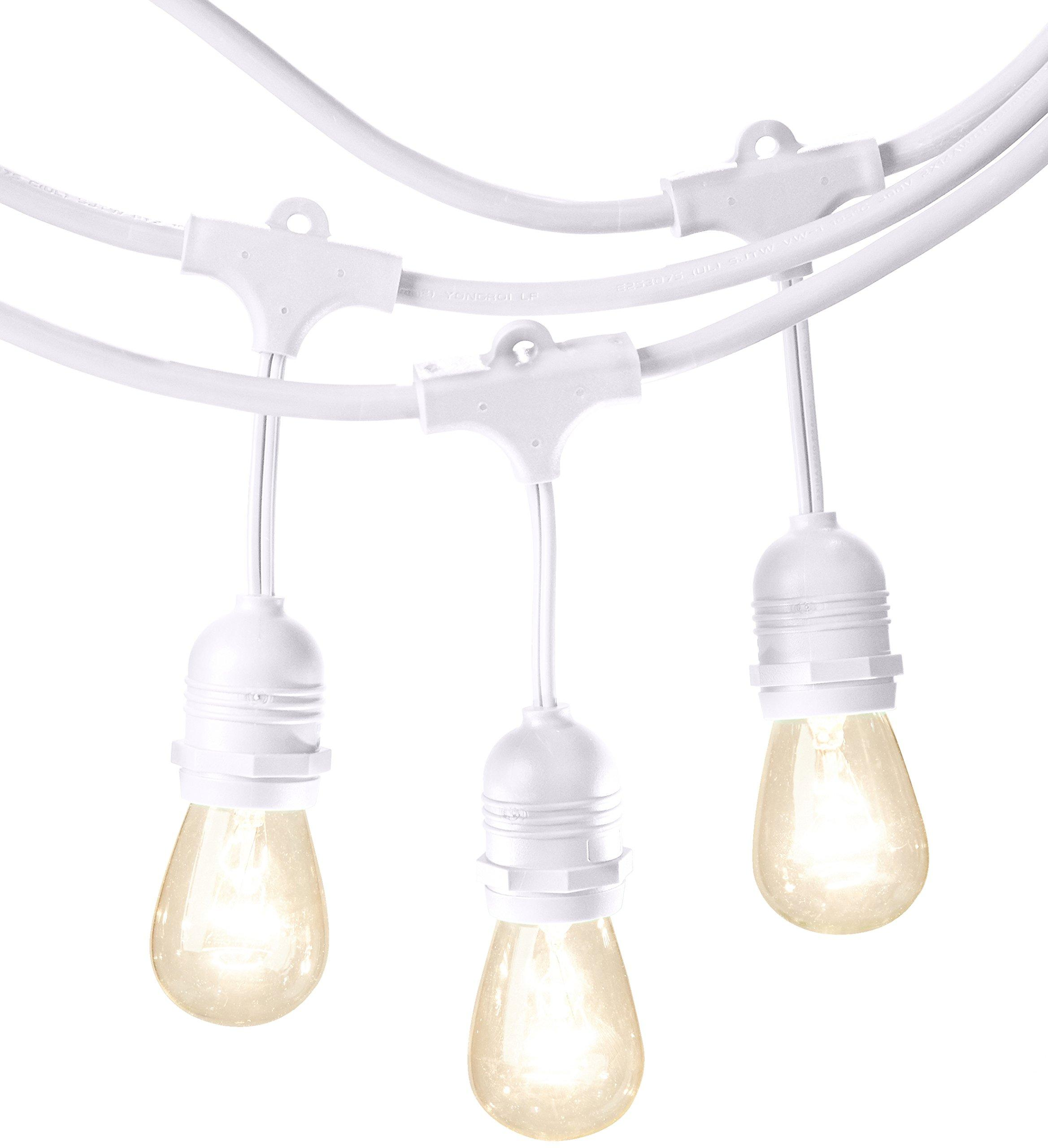Outdoor String Lights White: AmazonBasics Weatherproof Outdoor Patio String Lights S14