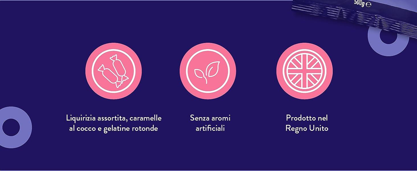 Liquirizia assortita, caramelle al cocco e gelatine rotonde