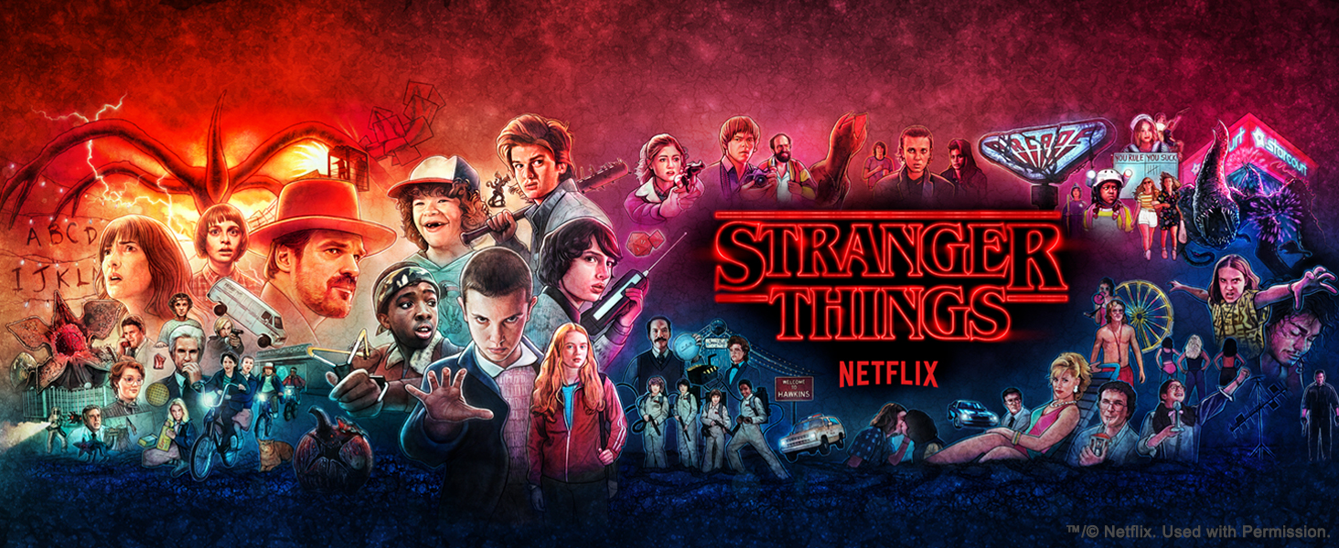 Stranger Things from Netflix logo with characters, places, and monsters
