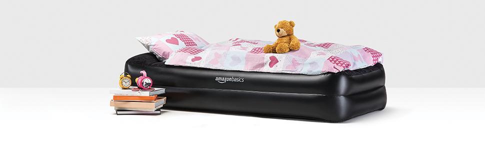 amazonbasics premium luftmatratze mit kissenauflage und integrierter luftpumpe doppel grau. Black Bedroom Furniture Sets. Home Design Ideas
