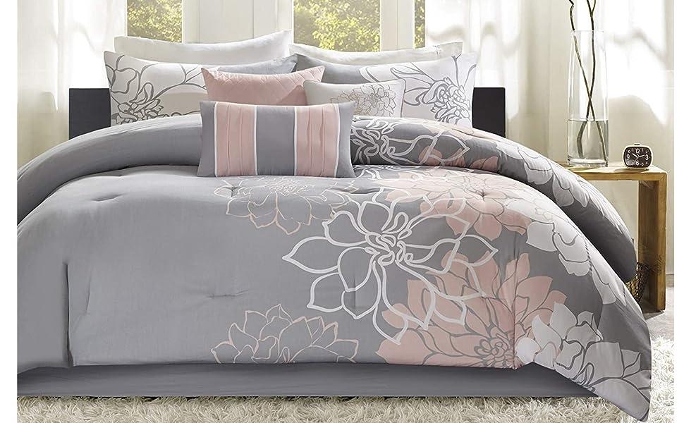 Madison Park Lola Sateen Cotton Comforter Set Casual Medallion Floral Design All Season Down Alternative Bedding Shams Bedskirt Decorative Pillows King 104 X92 Grey Blush 7 Piece Home Kitchen