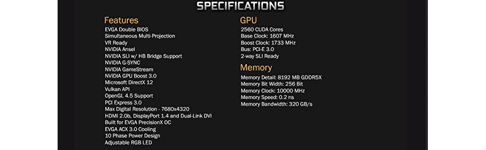 EVGA GeForce GTX 1080 FTW DT GAMING ACX 3 0, 8GB GDDR5X, RGB LED, 10CM FAN,  10 Power Phases, Double BIOS, DX12 OSD Support (PXOC) Graphics Card