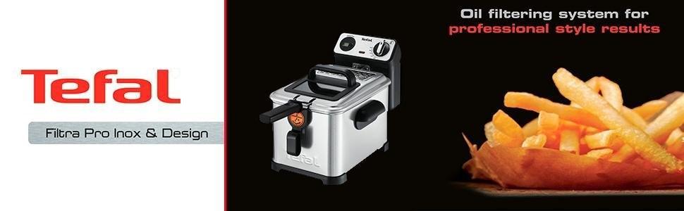 Tefal Filtra FR511170 - Pro Premium, Freidora Semiprofesional, 3 Litros de Capacidad, Temporizador Digital, Desmontable y Compatible con Lavavajillas, ...