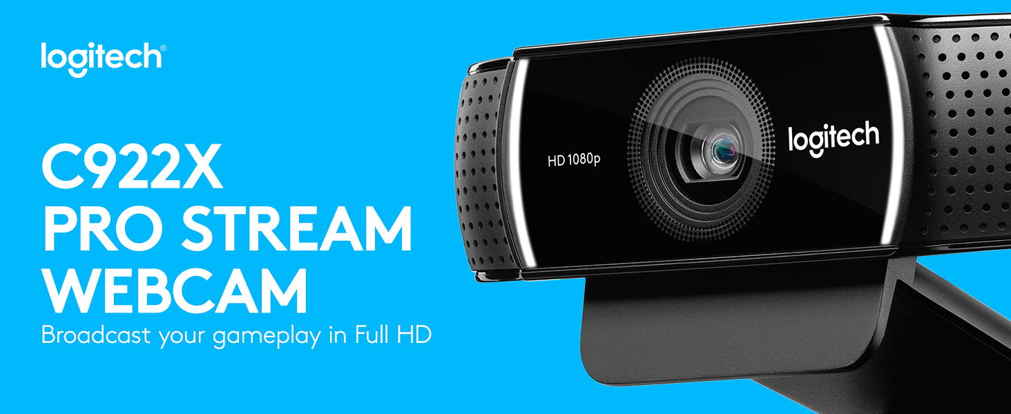 Logitech C922 Pro Stream Webcam, Full HD 1080p Streaming with Tripod and Free 3-month XSplit Licen