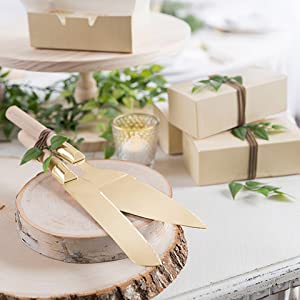 Amazon Com David Tutera Gold Cake Wood Handle 2 Pieces Serving Set Home Kitchen