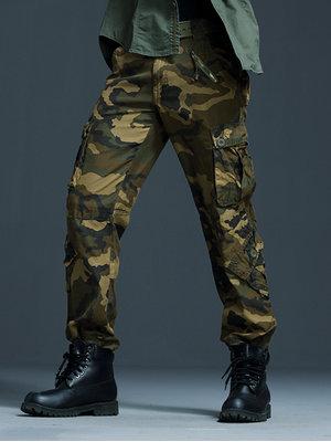 Aeslech Pantalones de carga militares casuales para hombre, 8 bolsillos de trabajo de combate al aire libre