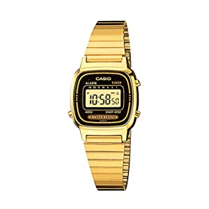 Casio Women'S Yellow Dial Stainless Steel Band Watch La670Wga 1D, Quartz, Digital