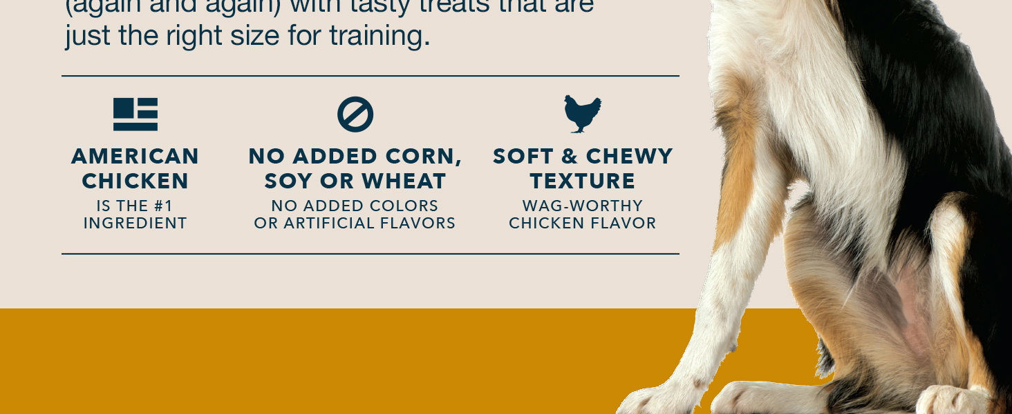 American chicken is the #1 ingredients; No added corn, soy, or wheat; Soft & chewy texture