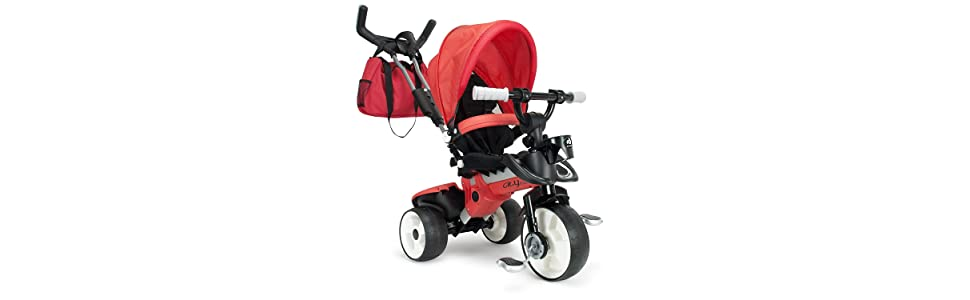 INJUSA Triciclo City MAX para Bebés Desde los 8 Meses con Mango para Control Parental de Dirección, Color Rojo (3271)
