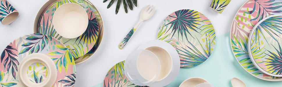 Bamboo dinnerware collection
